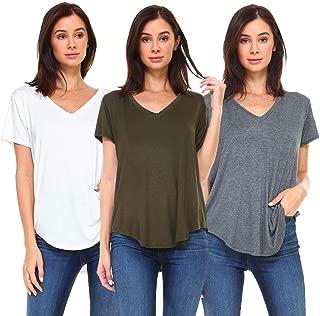 Women's 3-Pack Cuffed Sleeve Tunic Tee Shirts