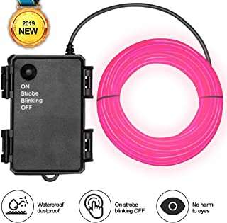 Basdien Waterproof El Wire Pink 16.5ft Neon El Wire with Battery Operated 4 Modes for Car Lights Party Lights Wedding Lights Festival Lights