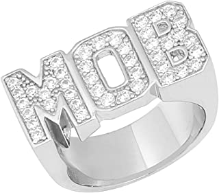 14k White Gold Plated .925 Silver 0.50 Ct Round Cut Simulated Diamond MOB Men's Ring