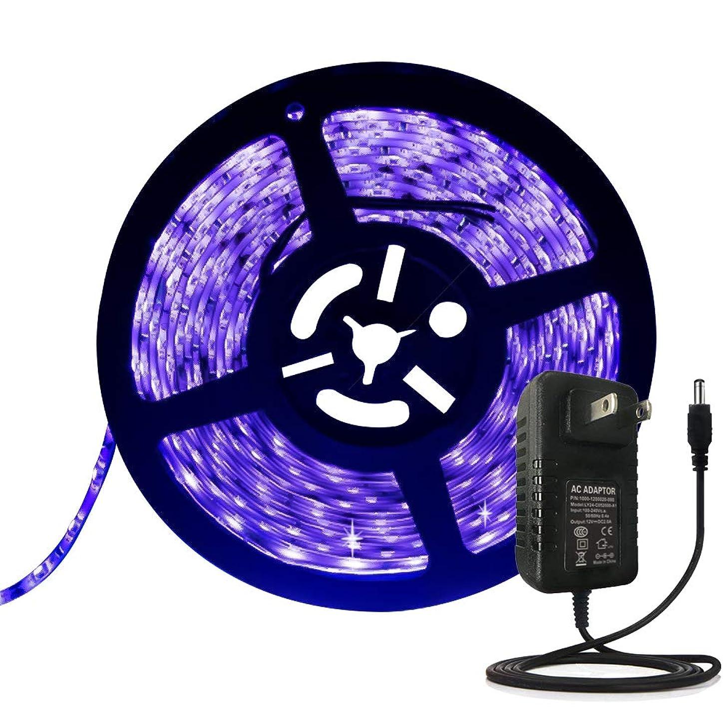 ANJAYLIA Black Light UV LED Strip 16.4ft 300leds Blacklight Strip Waterproof IP65 with 12V 2A Power Supply