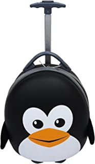 "Emmzoe Kids & Toddler 15"" Carry On Animal Trolley Hardshell Luggage - Lightweight EVA, Dent Proof, Adjustable Handle for Age 2+ (Peppy Penguin)"