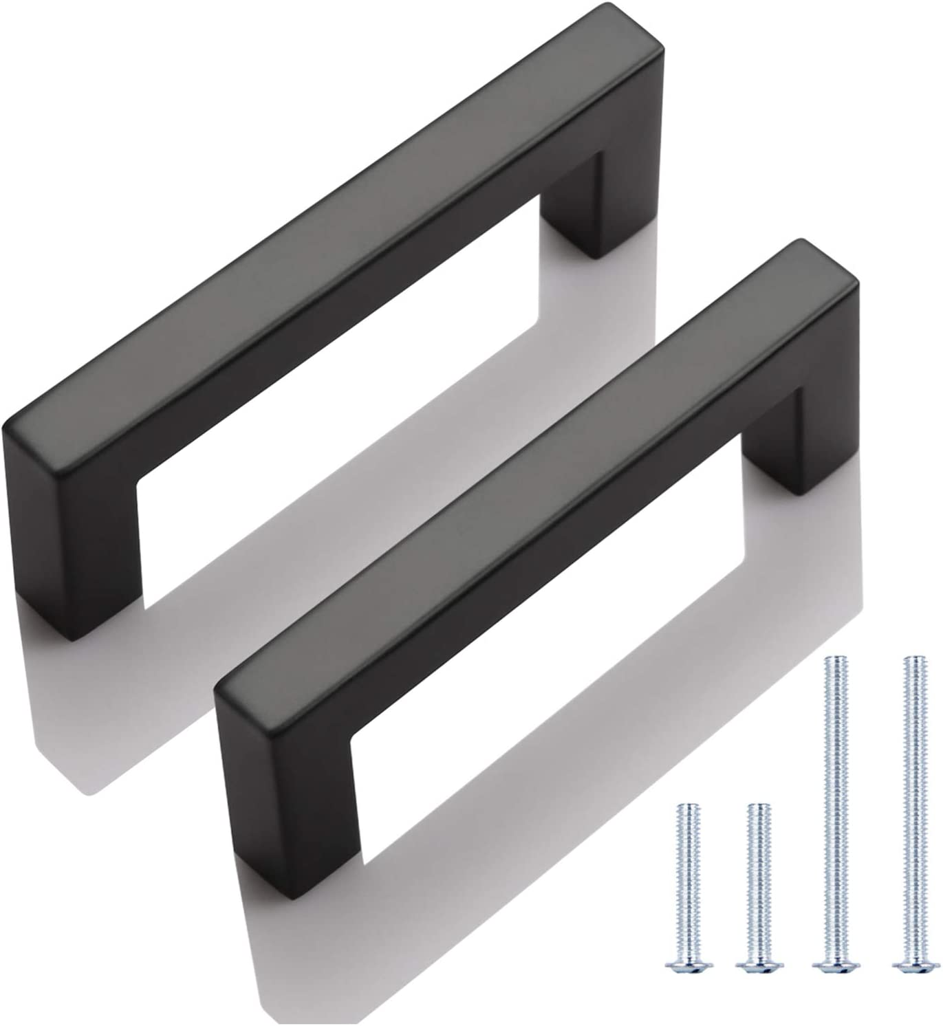 Safety and trust KNOBWELL 6 Pack Black Stainless Kitchen Denver Mall Cabinet Door Steel Handl