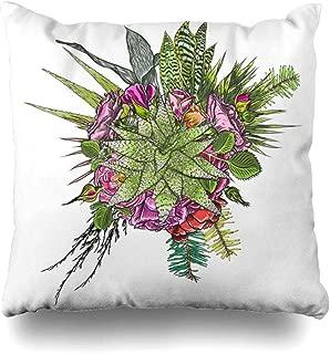 Ahawoso Throw Pillow Cover Square 20x20 Flower Blue Border Green Succulent Bouquet Ikebana Tattoo Assortment Watercolor Botanical Bunch Cactus Design Flesh Home Decor Cushion Case Pillowcase