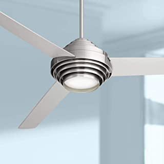 """60"""" Devo Modern Ceiling Fan with Light LED Dimmable Remote Control Brushed Nickel Silver Blades Opal Frosted Glass for Living Room Kitchen Bedroom Family Dining - Casa Vieja"""