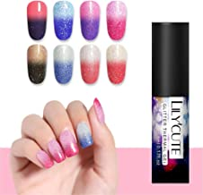LILYCUTE 5ml Thermal Nail Gel Polish Glitter Color-changing Nail Art Gel Soak Off UV Gel Varnish 8Colors