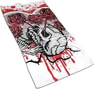 nobrand Skull with Heart, Grunge Hand Towels Ultra Soft Luxury Cotton Face Towel Washcloths for Home Kitchen Bathroom Spa Gym Swim Hotel Use Women Men Adult