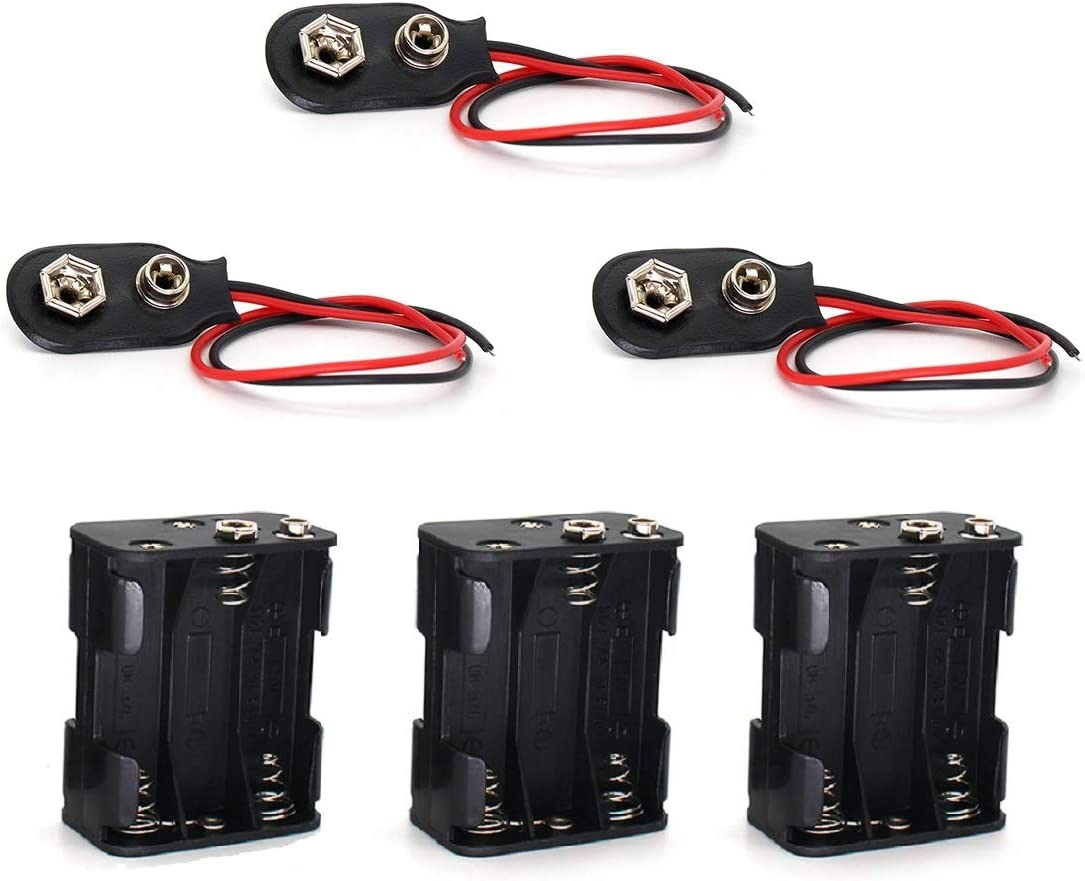 Two Layers 6 X 1.5V (9V) AA Battery Holder Leads with 9V I Type Standard Snap Clip Connector Plastic Housing Batteries Wire Case Cover (3 of Pack)