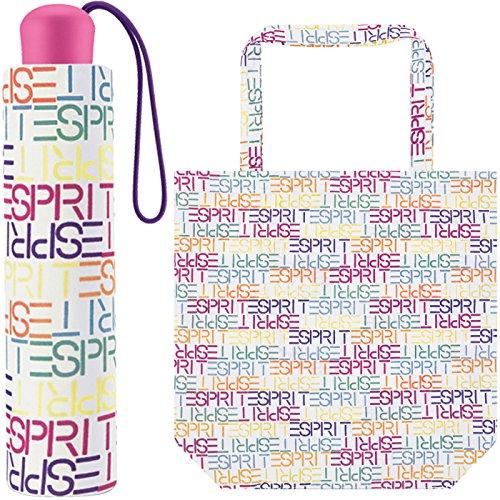 Esprit Mini Damen Taschenschirm mit Shopper-Bag - Letter Dance - White