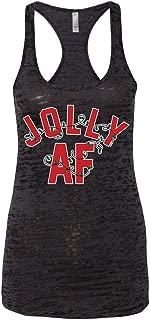 Women's Jolly AF Christmas Burnout Racerback Tank Top