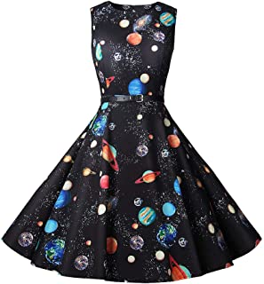 Vintage Audrey 1950s Starry Sky Printing O-Neck Ball Gown Retro Sleeveless Rockabilly Cocktail Casual Dress