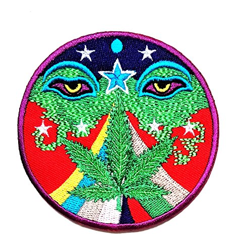 HHO Weed Marijuana Rasta Nepal Mani Mantra Wisdom Buddha Eyes Lucky Sign Logo Hippie Retro Biker Patch Embroidered DIY Patches Cute Applique Sew Iron on Kids Craft Patch for Bags Jackets Jeans Clothes