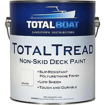 TotalBoat TotalTread Non-Skid Deck Paint, Marine-Grade Anti-Slip Traction Coating for Boats, Wood, Fiberglass, Aluminum, and Metals (Light Gray, Quart)