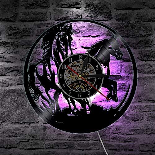 Caballos LED Iluminación Animales Vinilo Record Reloj de Pared Caballo Grabado Láser Mando a distancia Reloj Moderno Con Luz LED