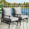 PatioFestival 2 PC Outdoor Padded Conversation Set,Patio Furniture Sets Modern Bistro Cushioned Rocking Sofa Chairs with 5.1 Inch Thick Seat Cushions,Grey