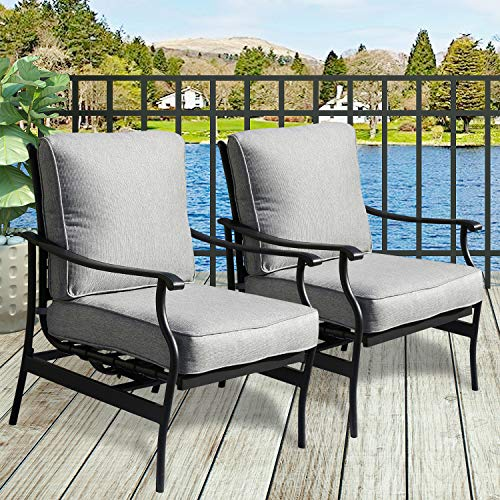 PatioFestival 2 PC Outdoor Padded Conversation Set,Patio Furniture Sets Modern Bistro Cushioned Rocking Sofa Chairs with 5.1 Inch Thick Seat Cushions (2PCS-2, Grey)