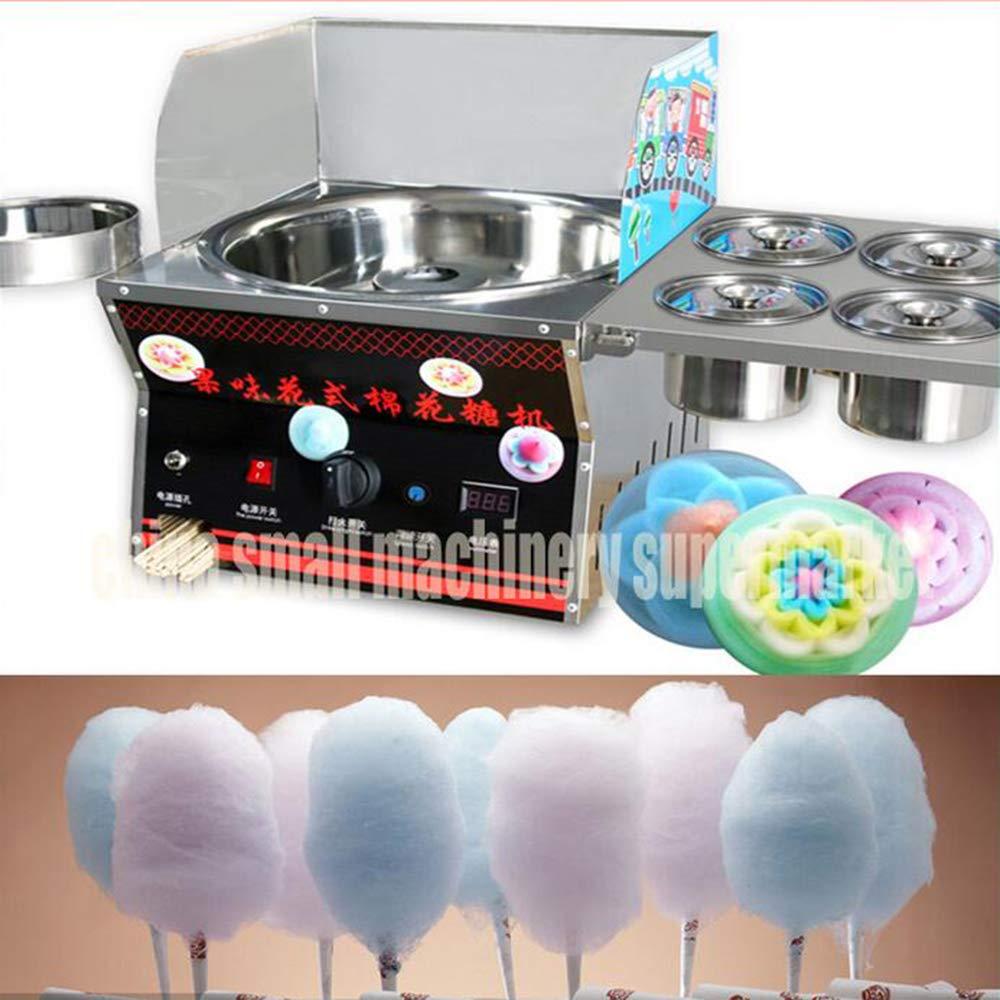 Uso comercial de acero inoxidable de lujo nuevo arte del caramelo de algodón cepillado Fantasía/algodón de azúcar Máquina Fantasía rosa del caramelo de la fiesta de la nube de bricolaje: Amazon.es: Hogar