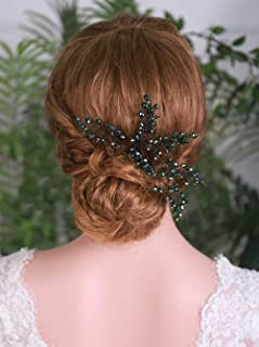 YERTTER Wedding Green Crystal Hair Comb Bridal Vintage Headpiece Women Hair Comb Bridal Hair Comb Wedding Hair Piece Weddi...