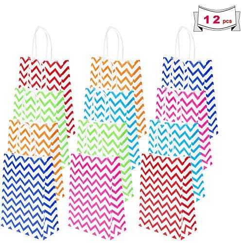 Sunshine smile Geschenktüten für Kinder Kraft Tüten Mitgebsel Tüten papiertüten aus kraftpapier mit henkel Papiertüten für Part für Partys, Hochzeiten, feiern [12 Stück]