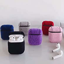 ICI-Rencontrer Super Creative Luxury 3D Plush Horsehair Design Airpods Case Fashion Soft Faux Fur Portable AirPods Accessories Wireless Charging Earphone Shockproof Protector Case With Keychain Purple