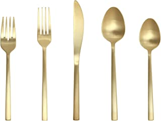 Fortessa Arezzo 18/10 Stainless Steel Flatware, 20 Piece Place Setting, Service for 4, Brushed Gold