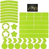 Adhesivos Reflectantes 42 Unidades, Pegatinas Reflectantes Casco Moto Reflectores Adhesivos Bicicleta,Autoadhesivas, Reflectantes, Juego de Pegatinas para Cochecitos, Bicicletas, Motocicletas, Cascos