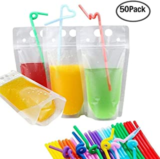 Besokuse Drink Pouches Bags Stand up Reclosable Zipper Ice Drinking Pouches Bags Hand-held Heat-Proof Drinking Bags with Plastic Straw (50 Pack)