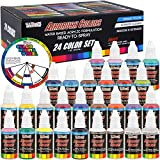U.S. Art Supply 24 Color Acrylic Airbrush, Leather & Shoe Paint Set Opaque...
