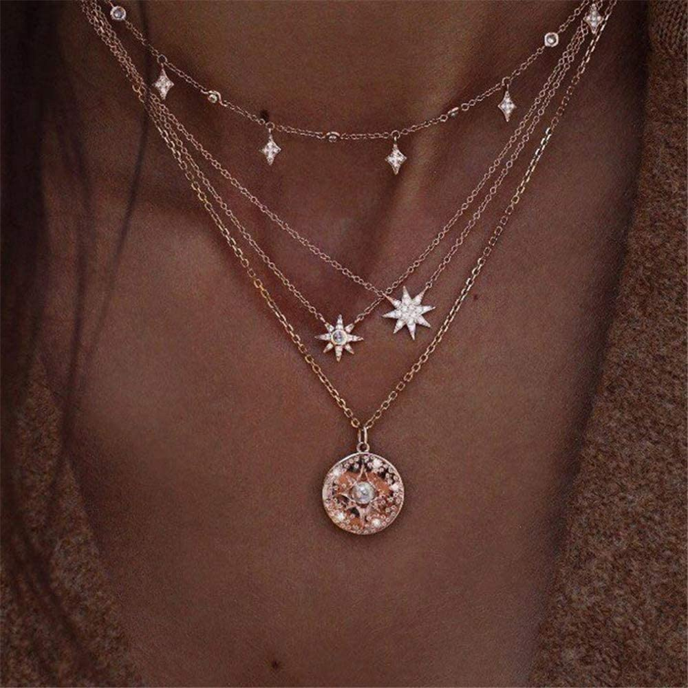 VESOCO Boho Star Necklace Coin Neck Chain Choker Pendant Necklaces Fashion Jewelry for Women and Girls