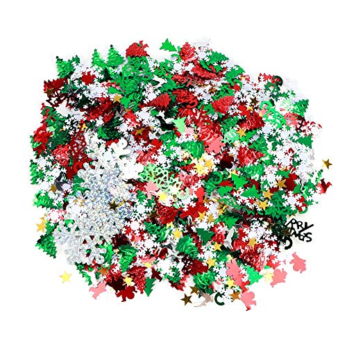 chengong Decorative Beautiful Snowflakes Ornament, Christmas Confetti, for Party Decoration Festivals Celebrations Gifts