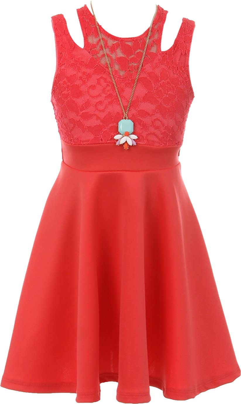 Dreamer Sleeveless Floral Lace Cut Out Shoulder Holiday Party Flower Girl Dress