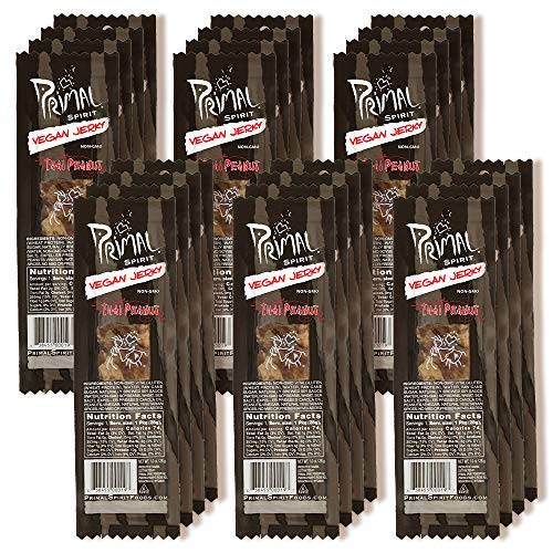 "Primal Spirit Vegan Jerky – ""Classic Flavor"" – Thai Peanut, 10 g. Plant Based Protein, Certified Non-GMO, No Preservatives, Sports Friendly Packaging (24 Pack, 1 oz)"