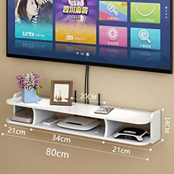 BAIYIQW Consola de Estante para TV Flotante Rack de Almacenamiento Multimedia Estante del Enrutador Inalámbrico (Color: Blanco) Regalo- D: Amazon.es: Hogar