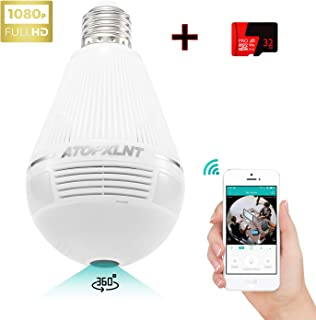 ATOPXLNT Light Bulb Camera WiFi Outdoor Indoor Panoramic IP Security Surveillance System 360 Degree Smart 3D 1080P HD Home Camera 2MP Wireless LED Night Vision Cam Motion Detection with 32G SD Card
