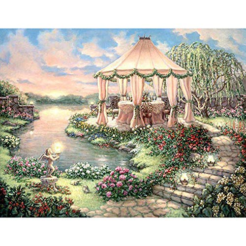 Stamped Cross Stitch Kits Garden Shed for Beginners Advanced - Embroidery Set Needlework DIY Handmade Pattern Cross Stitching Home Decoration 16X20 Inch