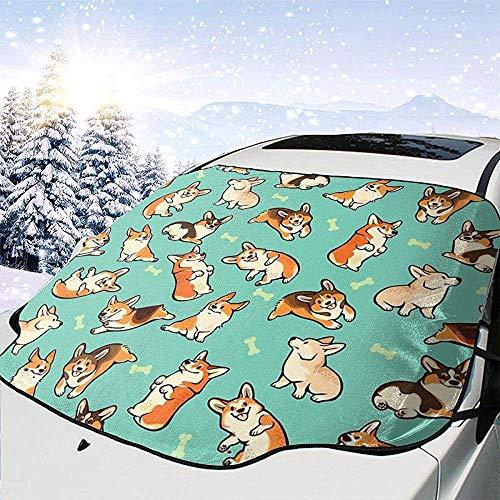 Jeffrey Toynbee Jolly Corgis in Green Car Windschutzscheibe Sonnenschutz Schnee EIS Windschutzscheibe Protector Cover