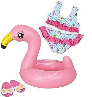 Heless-Set de natación para muñecas, Flamingo Ella, Color carbón, Größe 35-45 cm (99)