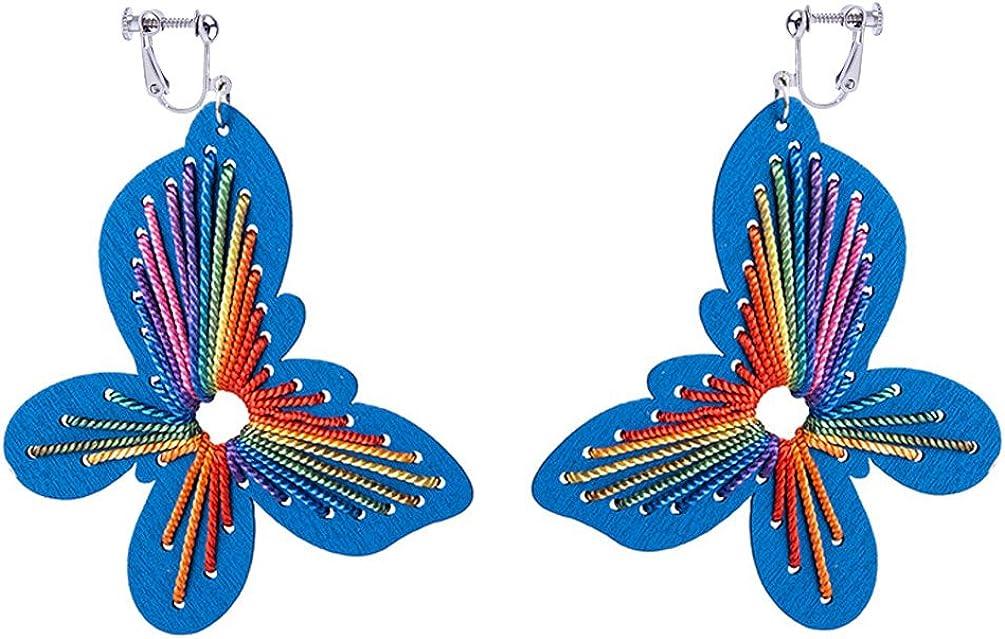 Dangle Earring Clip on Screw Backs Large Blue Wood Butterfly for Women Accessories Box