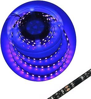 Blacklight UV Led Light Strip Christmas Ultraviolet Light TV Backlight Waterproof 16FT 3528SMD UV LED Strip Light Night Fishing Light for Xmas Room Kitchen Decor(Black PCB)