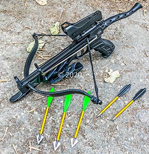 Isaazon 80lbs Self Cocking Pistol Crossbow Arrows Red Dot Scope Broad Head Arrows Black