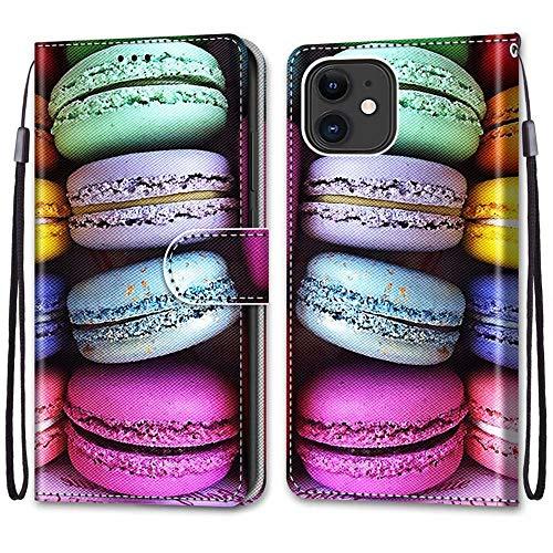 """Nadoli Handyhülle Leder für iPhone 12 Mini 5.4"""",Bunt Bemalt Sandwich Kuchen Trageschlaufe Kartenfach Magnet Ständer Schutzhülle Brieftasche Ledertasche Tasche Etui"""