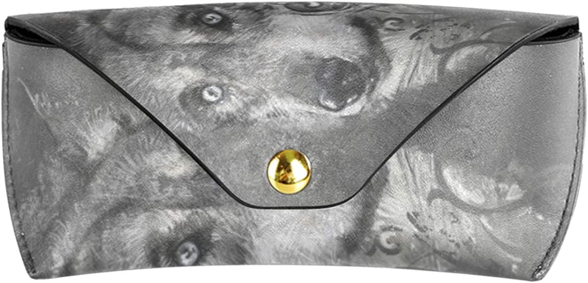Portable present Scary Wolf Skull Gray PU Leather Multiuse Sunglasses Case Eyeglasses Pouch Goggles Bag