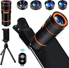 Cell Phone Camera Lens Kit,6 in 1 Universal +0.62x Wide Angle &25x Macro +235°Fisheye +Phone Holder -Shutter Remote+Tripod for iPhone X/8/7/6/6s plus Samsung Android & phone