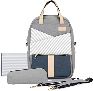 Diaper Backpack for Mom Daily Outing, Baby Bags for Mom USB Charging Port with Changeable Stroller Straps, Diaper Pad & Extra Bottle Cooler (Gray)