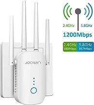 JOOWIN WiFi Repetidor 1200Mbps 2.4 GHz y 5GHz Amplificador de Señal de Red WiFi de Doble Frecuencia Punto de Acceso Inalámbrico Enrutador WiFi Extensor,4 Antenas,Puerto Ethernet,WPS, Modo Ap(Blanco)