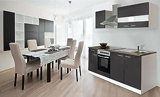 respekta Küche Küchenzeile Einbauküche 210 cm Weiß Front Grau CERAN KB210WGC