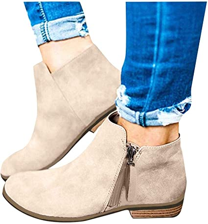 Amazon.com: Clearance! Swiusd Women Flock Leather Ankle Booties Retro  Stacked Chunky Block Heels Short Boots Warm Closed Toe Outdoor Western Shoes:  Shoes