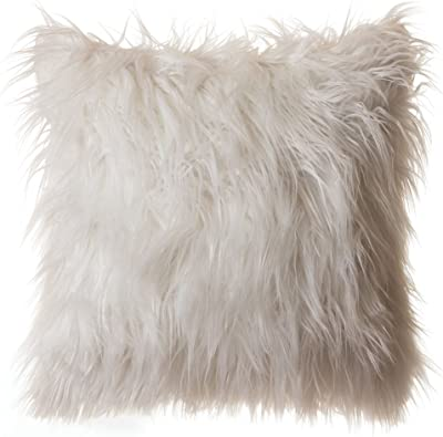 "North End Decor Faux Fur 18""x18"" (Cover Only), Mongolian Long Hair White Throw Pillows, 18x18"
