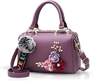 NICOLE&DORIS New Handbag for Women top Handle Bags Floral Handbags Shoulder Bags with Pompom Pendant Crossbody Bag Barrel ...