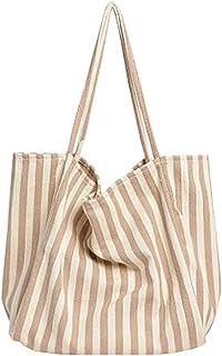 canvas bag Striped Big Canvas Tote Bag For Women Summer Beach Classic Fabric Soft Big Handbag Female Large Casual Top Hand...