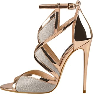 Womens Gladiator Knee High Sandals Open Toe Lace Up Criss Cross High Heel Strappy Fashion Sexy Shoes
